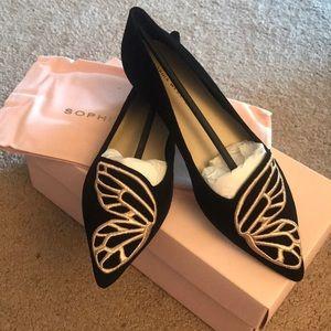 Sophia Webster butterfly black gold flats